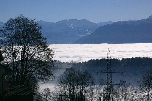 Zurich, Oberland, Switzerland, Sea Of Fog, Winter