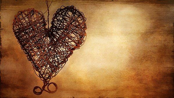Heart, Metal Heart, Rusty Heart, Wire Heart, Painted
