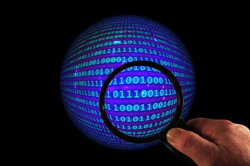 Ball, Binary, Magnifying Glass, Hand, Http, Www, Crash