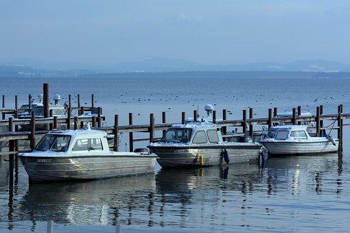 Winter, Web, Lake, Water, Boardwalk, Boats, Chiemsee