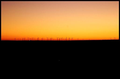 Palencia, Windmills, Bornholm, Horizon, Sunset