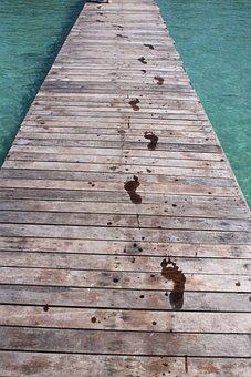 The Island Of Koh Kood, Thailand, Water, Bridge, Tracks