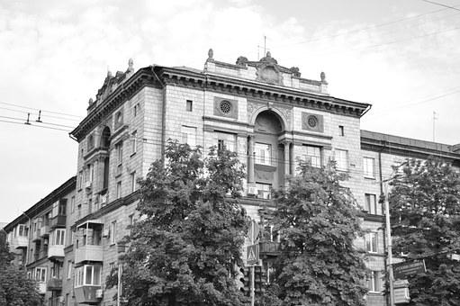 Town, Black And White, City, Building, Old