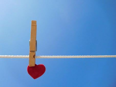 Heart, Clothespin, Clothesline, Wooden Clothespin