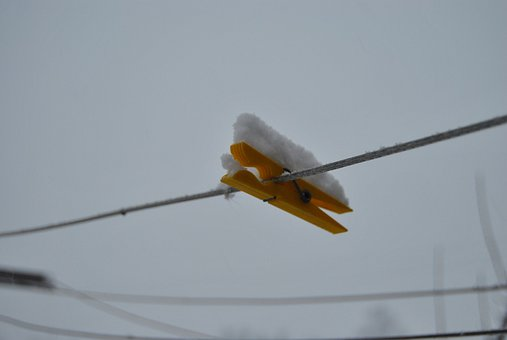 Clothespin, Hang, Snow, Winter, Laundry