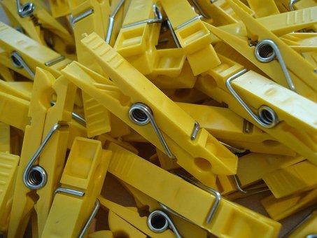 Klamnmer, Yellow, Clothespins