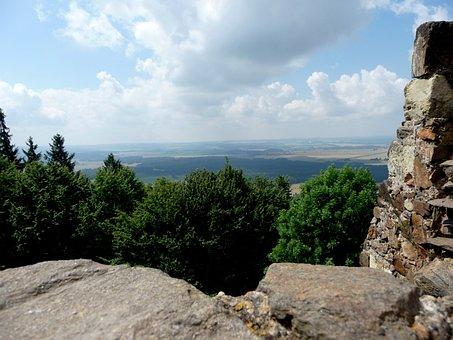 View, Castle, Ruins, Castle Lichnice, Clouds, Landscape