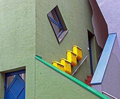 Staircase, Mailbox, Color, Colorful, Facade, Home