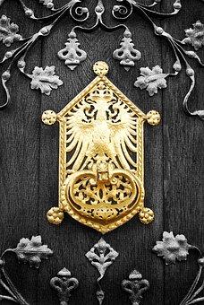 Door, Gold, Doorplate, Shiny, Metal, Hardware, Ancient