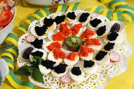 Buffett, Egg, Caviar, Salmon, Eat, Food, Delicious