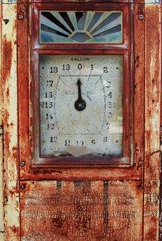 Antique, Clock, Fuel Pump, Old Fuel Pump, Dial, Gauge
