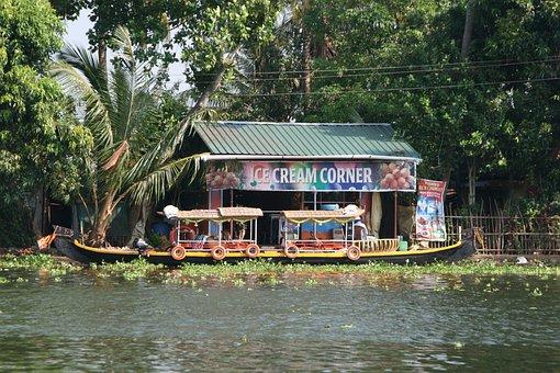 India, Kerala, Boat, Canoe, Ice Cream, Backwaters