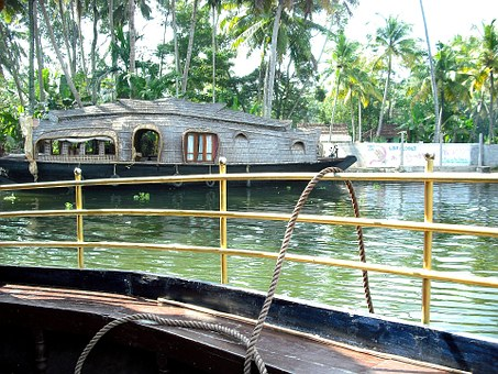 Backwaters, Kerala, India, River, Houseboat, Boat
