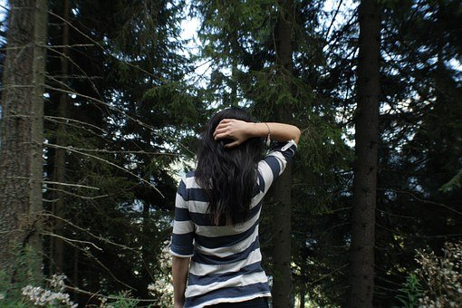 Forest, Woman, Girl, Lake, Nature, Away, Landscape
