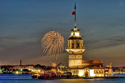 Tower, Maiden's Tower Kiz Kulesi, Wedding, Night