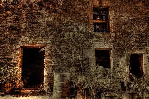 Wall, Old, Bricks, Stones, Medieval, Night, Plant