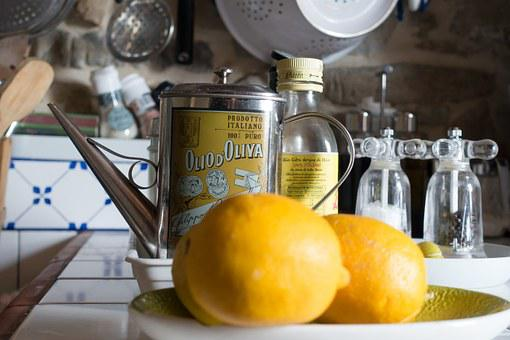 Lemon, Olive Oil, Jug, Salt, Pepper, Kitchen, Tile