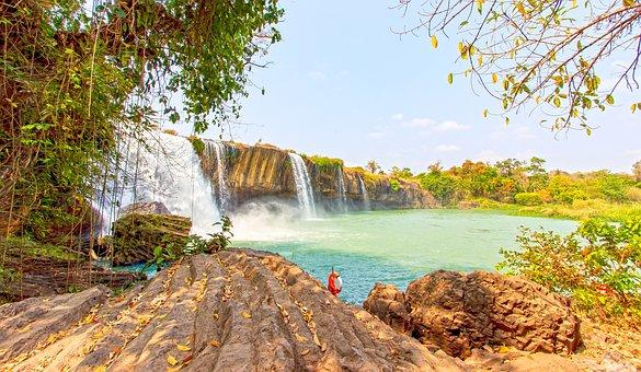 Tree, Outdoor, Rock, Waterfall, Dray, Nur, Dak, Lak