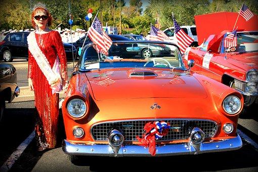 Veteran's Day Parade, Phoenix, Orange, Classic Car