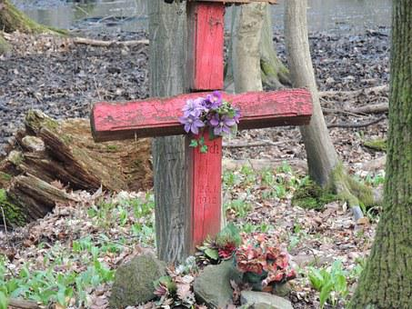 Cross, Grave, Flowers, Purple, Violet, Red, Forest