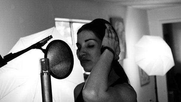 Singer, Musician, Woman, Headphones, Girl, Singing
