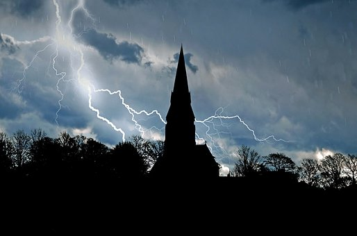 Church, Architecture, Skyline, Trees, Tree, Storm