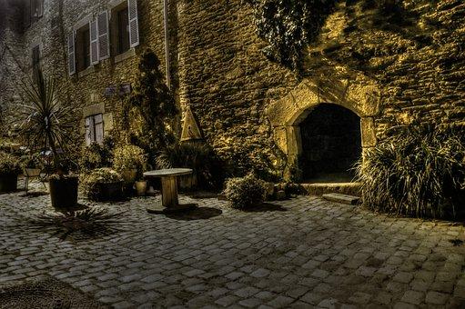 Street, Lane, Old, Night, Pierre, Facade, Plant