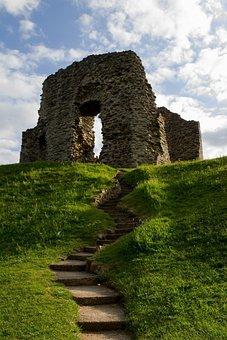 Castle, Ruins, Ancient, England, Uk, Brittan, Sky