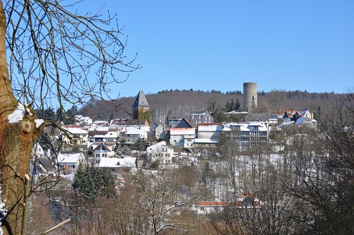 Altweilnau, Castle, View, Village, Germany, Winter