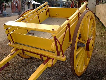 Wagon, Cart, Yellow, Wheel, Transport, Vintage, Rural