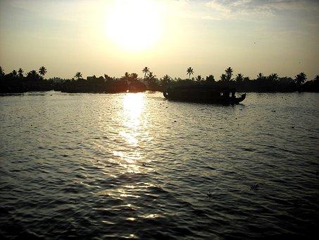 Kerala, India, Backwaters, Water, Sunrise, Nature
