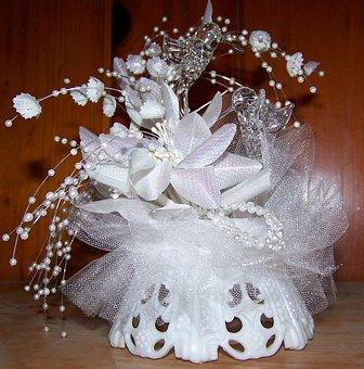 Wedding, Decoration, Hummingbird, White, Glass, Flowers
