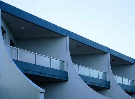Building, White, Blue, Curved, Balconies, Slants