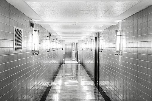 Corridor, Hallway, Floor, Tiles, Empty, Clean