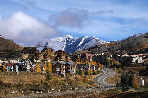 Town, Village, Architecture, Buildings, Mountains, Fall