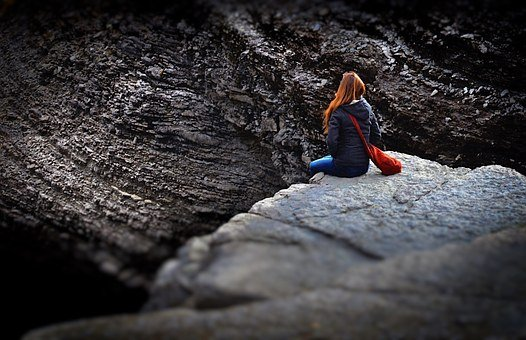 Girl, Sitting On The Edge, Only, Solitude, Ginger
