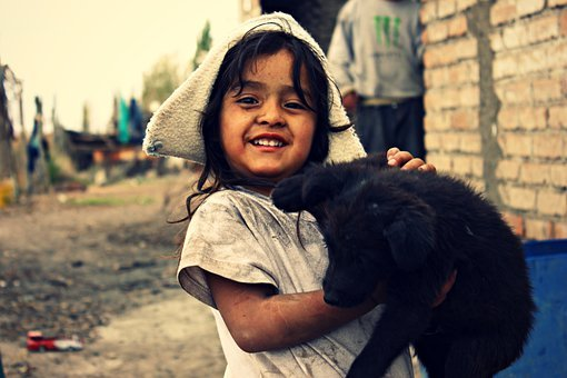 Girl, Dog, Poor, Dirty, Children