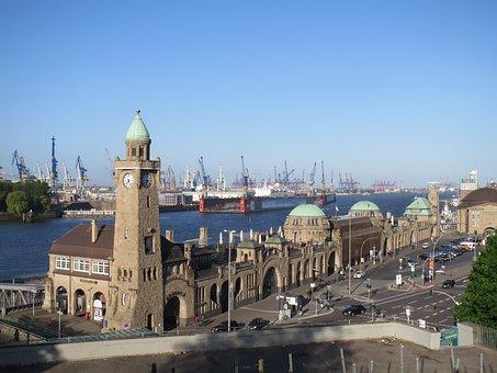 Hamburg, Landungsbrücken, Port, Germany, Water, Elbe