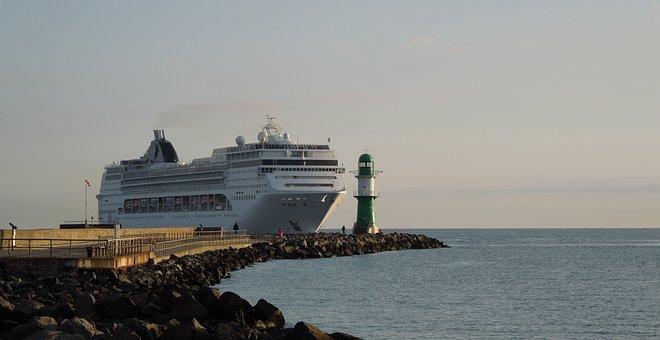 Cruise Ship, Warnemünde, Mole, Lighthouse, Ship Travel