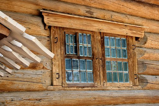 Log Cabin, Wood Cabin, Hut, Rich Brownwood Color