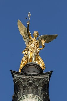 Munich, Angel Of Peace, Gold, Angel, Still Image