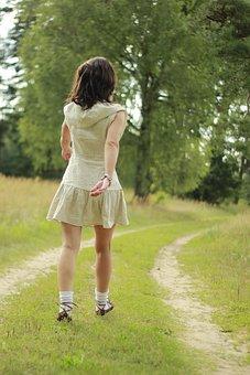 Woman, Go Away, Nature, Back, Away, People