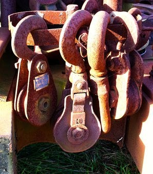 Hooks, Pulleys, Metal, Rust, Collection, Rusted, Old