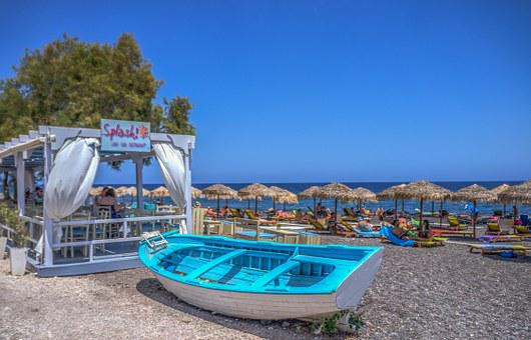 Boat, Beach, Kamari Beach, Santorini, Greece, Sea, Sand