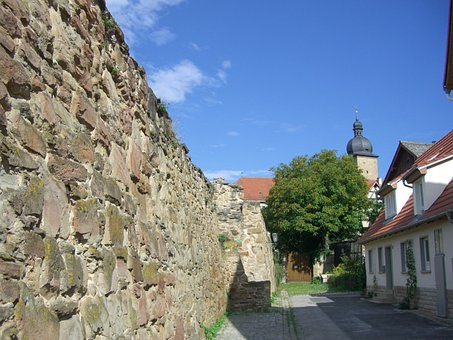City Wall, Masonry, Alley, Zeil, Mainfranken, Sky, Blue