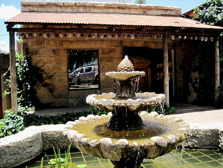 Shop, Building, Small, Quaint, Slanting Roof, Fountain