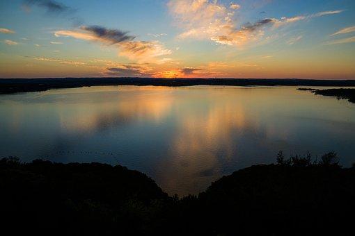 Lake Travis, Austin Texas, Sunset, Water, Colors