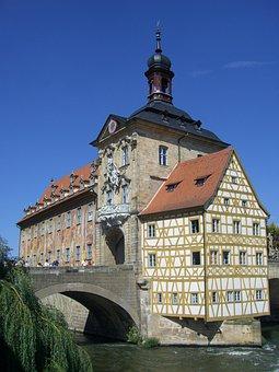 Bamberg, Town Hall, Old, Building, Fachwerkhaus, Bridge