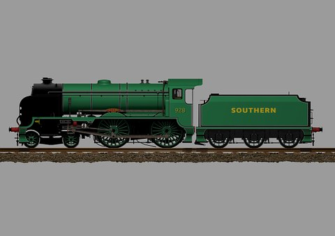 Train, Locomotive, Steam, Green, Retro, Vintage
