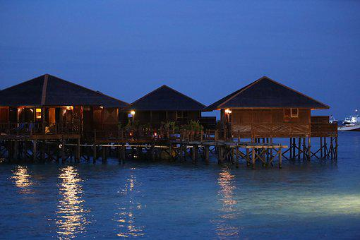 Water House, The Sea, Mabul, Wood, Hut